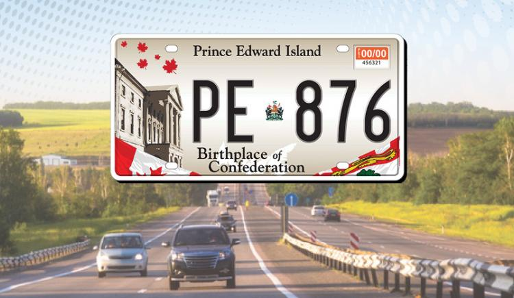 "Graphic image of PEI licence plate and blue car with text ""Prince Edward Island Motor Vehicle Registration"""