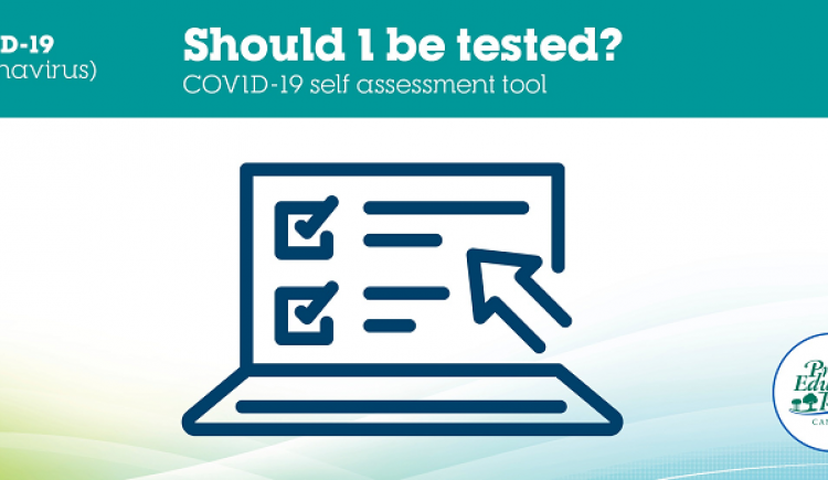 Graphic with Should I be tested? for COVID19 self-assessment tool