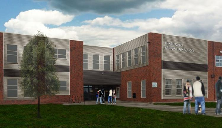 Drawing of renovated Three Oaks Senior High School (TOSH)