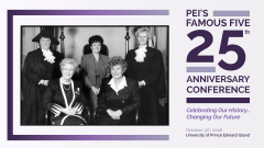 Poster for Famous Five conference, with photo of the five women.
