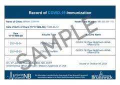 sample of New Brunswick vaccine record