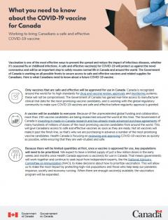 What you need to know about the COVID-19 vaccine for Canada brochure